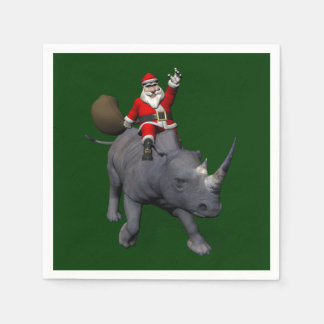 Lycklig jultomten på noshörningnoshörning pappersservetter