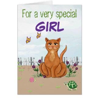 Lycklig katt - anpassadefödelsedagkort hälsningskort