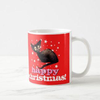 Lycklig katt för julösterlänningsvart! kaffemugg