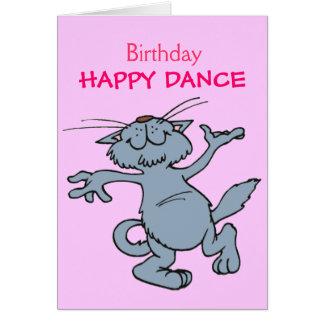 Lycklig katt för tecknad för dansgrattis på födels hälsningskort
