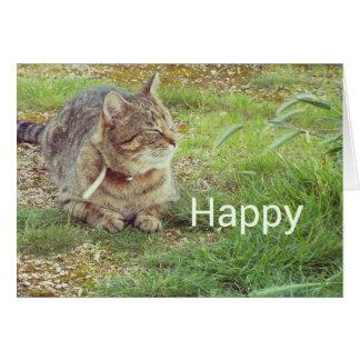 lycklig katt hälsningskort