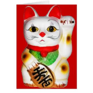 Lycklig katt Maneki Neko Hälsningskort