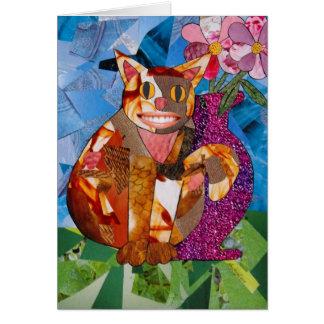 Lycklig katt med vasen hälsningskort
