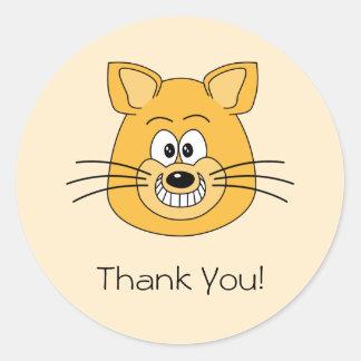 Lycklig katt, tacka dig rund klistermärke