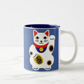 Lycklig kattmugg för blått Två-Tonad mugg