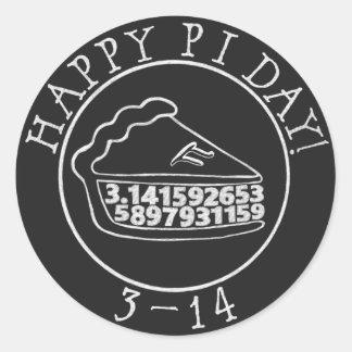 Lycklig klistermärke för paj för svart tavla för