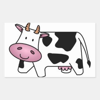 Lycklig ko rektangulärt klistermärke