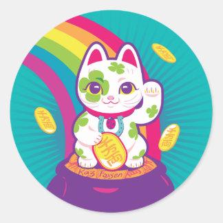 Lycklig kruka för kattManeki Neko lycka till av Runt Klistermärke