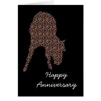 Lycklig Leopard för årsdagkorthäst på svart Hälsningskort