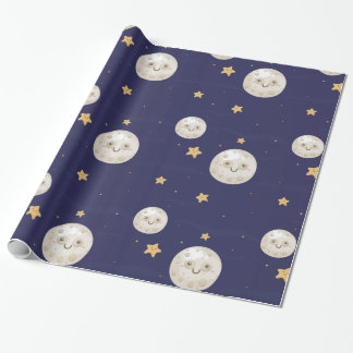 Lycklig måne som slår in papper presentpapper