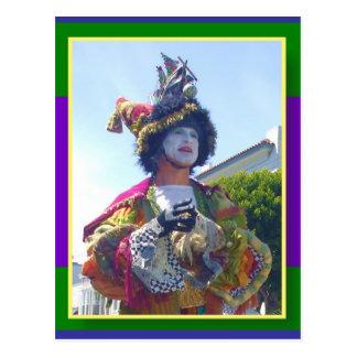 Lycklig Mardis Gras clown Vykort