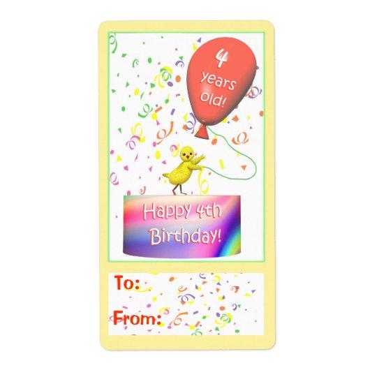 Lycklig märkre för 4e födelsedagenhönagåva fraktsedel