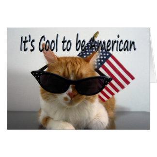 Lycklig minnesdagen - kall katt med flagga hälsningskort