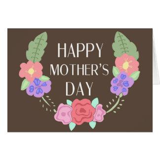 Lycklig mors dag brunt blom- lagrar hälsningskort