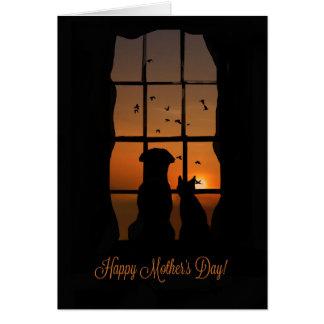 Lycklig mors dag från hunden och katt hälsningskort