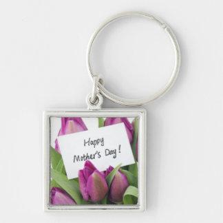 Lycklig mors dag fyrkantig silverfärgad nyckelring