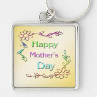 Lycklig mors dag Keychain Fyrkantig Silverfärgad Nyckelring