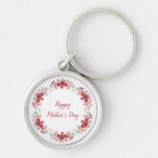 Lycklig mors dag Keychain Rund Silverfärgad Nyckelring