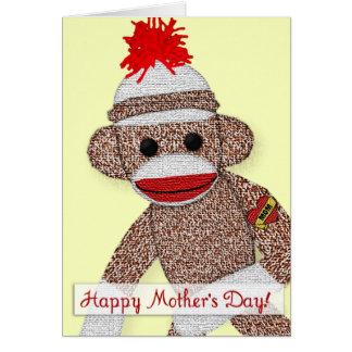 """""""Lycklig mors dag!"""", Sock monkeytatueringkort Hälsningskort"""