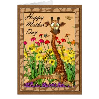 Lycklig mors dag som fostrar söndag med giraffet hälsningskort