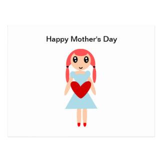 Lycklig mors dagflicka med hjärta vykort