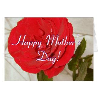 Lycklig mors dagröd ros hälsningskort