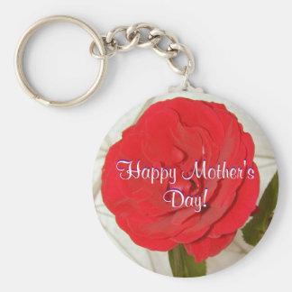 Lycklig mors dagröd ros rund nyckelring