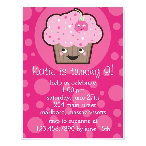 Lycklig muffinfödelsedagsfest inbjudan