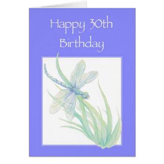 Lycklig natur för 30års födelsedagvattenfärgslända hälsningskort