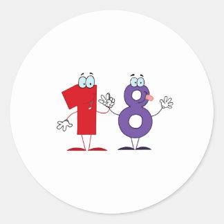 Lycklig numrerar 18 runt klistermärke