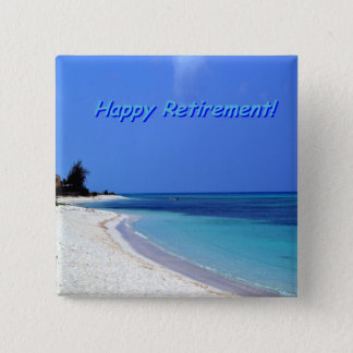 Lycklig pension - blå himmel, blåtthav standard kanpp fyrkantig 5.1 cm