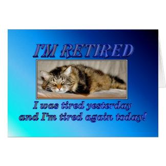 Lycklig pension som lämnar arbete sova katten hälsningskort