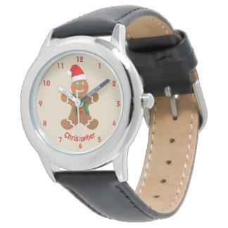 Lycklig pepparkakapojke med den Santa hatten Armbandsur