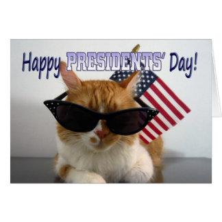 Lycklig president katt för dagcoola med hälsningskort