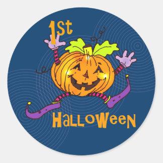 Lycklig pumpa 1st Halloween Rund Klistermärke
