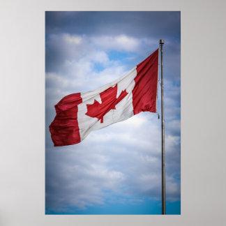 Lycklig röd Kanada dag och kanadensisk flagga för Affisch