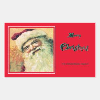 Lycklig röd Santa god julhelgdag - Rektangulärt Klistermärke