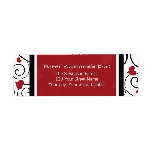 Lycklig röd valentin tur och retur returadress etikett