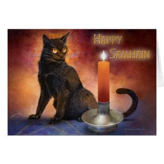 Lycklig Samhain kattunge och Candle. Hälsningskort