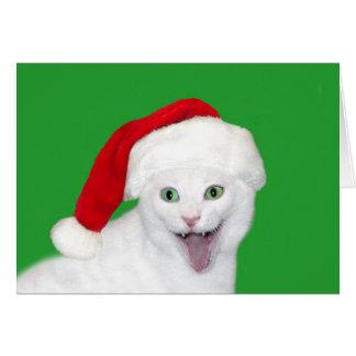 Lycklig Santa katt Hälsningskort