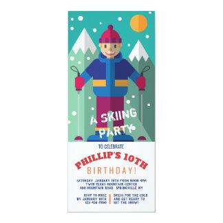 Lycklig Skierinbjudan 10,2 X 23,5 Cm Inbjudningskort