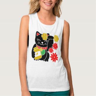 Lycklig skjorta för genomkörare för kattManeki Brottarlinne