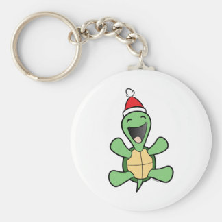 Lycklig sköldpaddajul rund nyckelring
