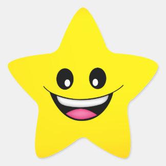 Lycklig smiley face stjärnformat klistermärke