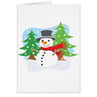Lycklig snögubbe hälsningskort