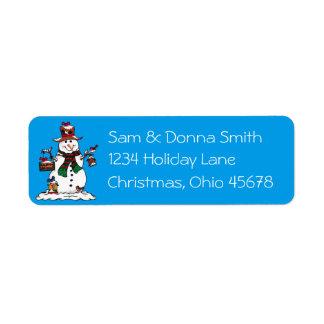 Lycklig snögubbe och fåglar - juladressetiketter returadress etikett