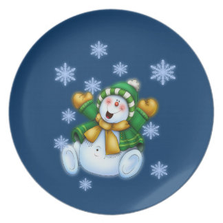 Lycklig snögubbe tallrik
