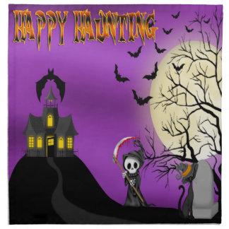 Lycklig som spökar servetter för Reapertrasamiddag