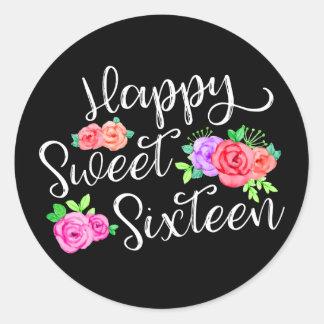 Lycklig sötsak 16 ro & svart för födelsedagflicka runt klistermärke