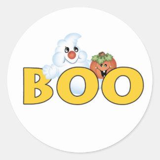 Lycklig spökebu runt klistermärke
